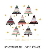 vector christmas tree... | Shutterstock .eps vector #734419105