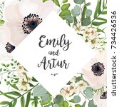 vector floral wedding invite... | Shutterstock .eps vector #734426536