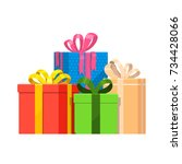 gift boxes vector set christmas ... | Shutterstock .eps vector #734428066