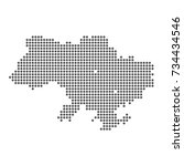 abstract dotted map of ukraine | Shutterstock .eps vector #734434546