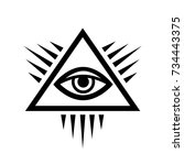 all seeing eye of god   the eye ... | Shutterstock .eps vector #734443375