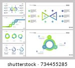 six financial report slide... | Shutterstock .eps vector #734455285