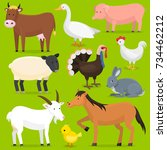 farm vector animals  birds... | Shutterstock .eps vector #734462212