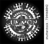 summon on grey camouflaged... | Shutterstock .eps vector #734468842