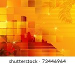 tropical sunset cityscape.... | Shutterstock .eps vector #73446964