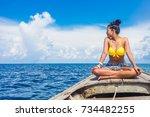traveler woman in bikini... | Shutterstock . vector #734482255