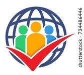 logo icon for global survey...   Shutterstock .eps vector #734486446