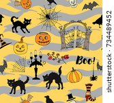 halloween seamless pattern with ... | Shutterstock .eps vector #734489452