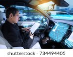 caucasian man riding... | Shutterstock . vector #734494405