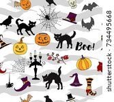 halloween seamless pattern with ... | Shutterstock .eps vector #734495668