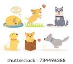 vector illustration cute... | Shutterstock .eps vector #734496388