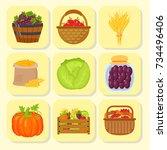 vector harvest flat icons... | Shutterstock .eps vector #734496406