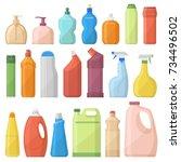 household chemicals bottles... | Shutterstock .eps vector #734496502