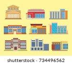 city buildings modern tower... | Shutterstock .eps vector #734496562