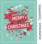 merry christmas decorative... | Shutterstock .eps vector #734499955