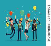 corporate party vector flat... | Shutterstock .eps vector #734499976