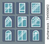 different types house windows... | Shutterstock .eps vector #734500852