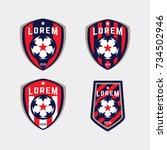 football logo badge isolated in ... | Shutterstock .eps vector #734502946