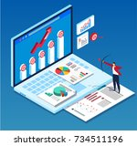 business strategy target... | Shutterstock .eps vector #734511196