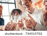 group of friends party together ... | Shutterstock . vector #734515702