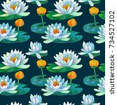 Water Lily Seamless Pattern On...