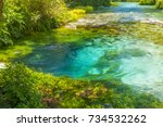 beautiful turquoise spring blue ... | Shutterstock . vector #734532262