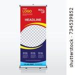 roll up brochure banner design... | Shutterstock .eps vector #734539852