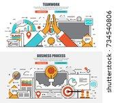 business flat line concept web... | Shutterstock .eps vector #734540806