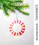 christmas tree branch with... | Shutterstock .eps vector #734540872