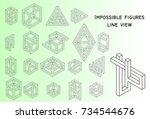 impossible figures  outline ...   Shutterstock .eps vector #734544676