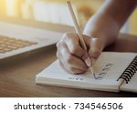 """woman hand pencil with text """"... 