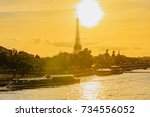 spectacular and romantic sunset ... | Shutterstock . vector #734556052