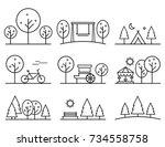 set of outline design vector... | Shutterstock .eps vector #734558758