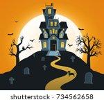 halloween background with... | Shutterstock .eps vector #734562658