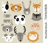 funny hand drawn animals. cute...   Shutterstock .eps vector #734565808