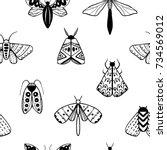 hand drawn doodle moth vector... | Shutterstock .eps vector #734569012