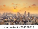 cityscape of tokyo city  japan. ... | Shutterstock . vector #734570212