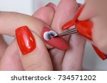 Small photo of The steps of the Romanian manicure combined with classic. Drawing red rose one stroke painting on your thumbnail halloween