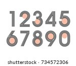 element  set of ten numbers... | Shutterstock .eps vector #734572306