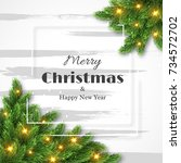 merry christmas and happy new... | Shutterstock .eps vector #734572702
