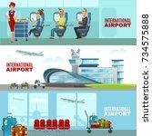 international airport... | Shutterstock . vector #734575888