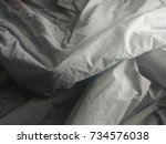 top view of a messy bedding... | Shutterstock . vector #734576038