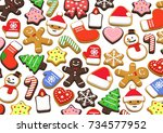 colorful christmas cookies  3d... | Shutterstock . vector #734577952