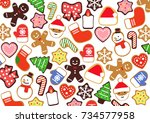 colorful christmas cookies  3d... | Shutterstock . vector #734577958