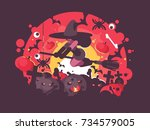 witch on broomstick flies to... | Shutterstock .eps vector #734579005