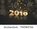happy new year 2018 gold... | Shutterstock . vector #734583766