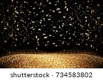gold glitter background place... | Shutterstock . vector #734583802