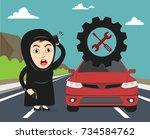 arab saudi woman or girl's car... | Shutterstock .eps vector #734584762