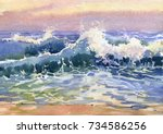 landscape with sea coast  waves ...   Shutterstock . vector #734586256