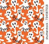 seamless halloween holiday...   Shutterstock .eps vector #734587018